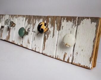 Wall rack Reclaimed Rustic barn wood 5 door knob hangers white chippy paint 31 1/2 inch coat towel purse hooks hangers Storage