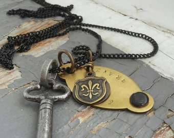 Aegis - mens stamped metalwork tag, shield, 1800s iron key, sealed link chain, necklace