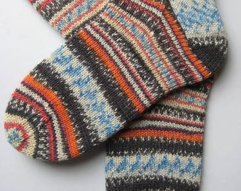 womens wool socks, UK 6-8 US 8-10, hand knitted ladies socks, multicoloured socks, knit socks, gift for women, unique socks, striped socks