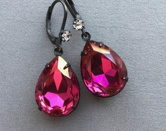 Rhinestone Earrings - Fuchsia Earrings - Hot Pink Earrings - Romantic Jewelry - Valentine Jewelry - Drop Earrings - Teardrop Earrings