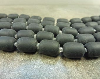 "Opaque Black Cultured Sea Glass Barrel Beads 13x10mm 8"" Strand with 13pc Frosted Matte Glass Beads"