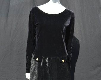 Vintage 90's Le Tricot Des Jeunes velour velvet mini dress sexy LBD long sleeve sM by thekaliman