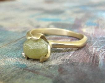Raw Diamond Ring , Solitaire Diamond Ring , Unique Engagement Ring , Rough Diamond Ring , Uncut Diamond Ring , Alternative Engagement Ring