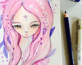 """Pink flower girl Watercolor painting, girl portrait, semi-realistic, ooak, whimsical art, 8x5"""", girl and lowers, mystic art, pink, purple"""