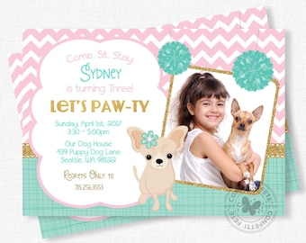 Puppy Party Invitation, Dog Birthday Invitation, Chihuahua Dog Party, Photo Invitations, Pink and Gold, Girl Birthday Invitation