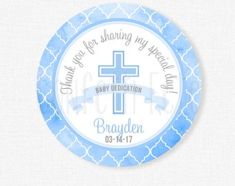 Baby Dedication Favor Tag, Boys Baptism Thank You Tag, Religious Tag, First Holy Communion Tag, Personalized