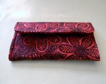 Red Floral Batik Clutch Wallet