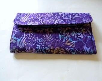 Purple Floral Batik Clutch Wallet