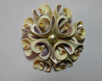 Vintage Amber Rhinestone Seashell Brooch