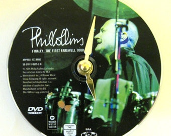 Phil Collins clock.  Recycled DVD. DVD clock. Clock made from a DVD. Phil Collins. Rock music clock.
