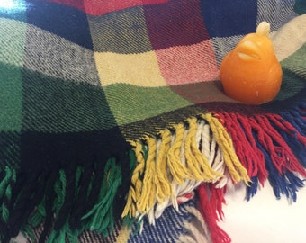 "2 Available Wonderful Wool Blanket Tartan Plaid Germany Zoeppritz Decke Attr. 60"" X 78""  Car Blanket, Stadium Blanket- at Modern Logic"