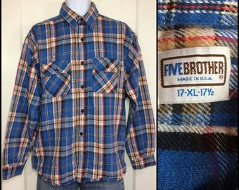 1970's 5 Brother Heavy thick Flannel Plaid Shirt size XL Blue Black tan red grunge hippie punk work skate Union made in USA