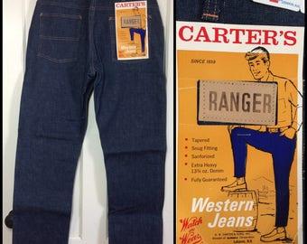 1960s Carter's Ranger watch the wear Denim western blue jeans size 34x32 Workwear Union Made dark wash tapered leg nwt NOS #301