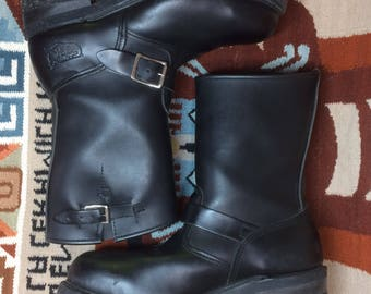 1990's Black Engineer motorcycle harness buckle Boots biker Shoes size 8 Grunge barely used made in USA punk rock