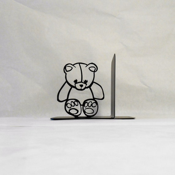 Teddy Bear Silhouette Single Metal Art Bookend Left Side