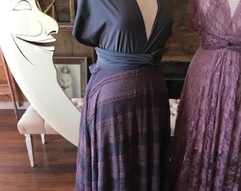 "Ready to Ship- Plus Size, Aline 38"" Length ~Wisteria Dainty Ruffle Lace Infinity Wrap Dress- Wedding Gown, Bridesmaids, Maternity, Etc."