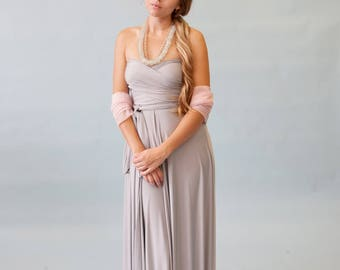 "Ready Made- 44"" Standard Nantucket Fog Grey Satin Jersey- Infinity Convertible Wrap Maxi Dress"