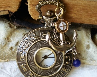 Signs of the Zodiac - Quartz Battery Powered Pocket Watch - Ancient Mariner - Navigation by the Stars   C 11-6