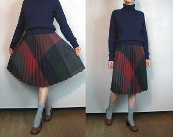 70s Harlequin PLAID Wool Accordion PLeated Skirt