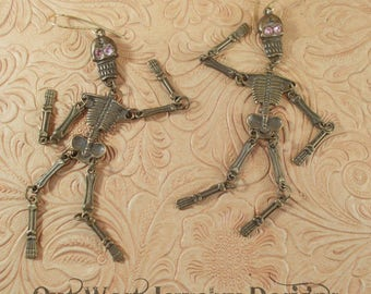 Skeleton Earrings - Antiqued Brass Jointed Skeletons and Light Rose Swarovski Crystal - Halloween