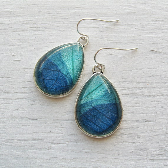 Real Leaf Earrings - Turquoise and Blue Layered Teardrop Pressed Leaf Earrings - Silver or Antique Brass