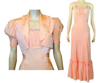 XS Ruffled Romance, 2pce Gatsby Dress, Bolero, Vintage 30s Tango Gown, X-Small