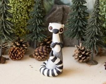 Lemur Figurine - Ring-tailed Lemur Sculpture by Bonjour Poupette
