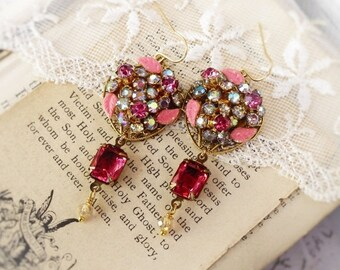 On Sale Pink Flowers Grow, Vintage 1950s Pink Austrian Rhinestone & Enamel Flowers, Vintage Pink Rhinestone Altered Assemblage Earrings
