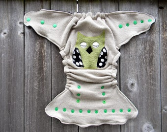 Upcycled Merino Wool Nappy Cover Diaper Wrap Cloth Diaper Cover One Size Fits Most Oatmeal With Owl Applique/ Charcoal Gray & Black