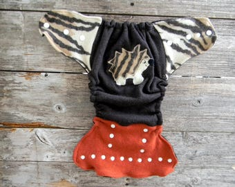 Upcycled Merino Wool Nappy Cover Diaper Cover Wool Wrap One Size Fits Most Brown/ Orange / Safari Pattern With Hedgehog Applique/ Black