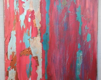 Original Texture Abstract Painting, Large Red Copper Teal Canvas Wall Art, Boho