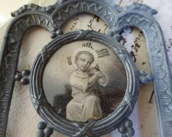 RESERVED for M - Vintage Enfant Jesus Embracing Cross - Ornate French Metal Frame with Bow