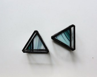 Stained Glass Triangle Jewelry Box Ring Dish - Set of 2
