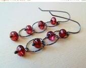 CLEARANCE Garnet earrings. Dangle earrings. January birthstone. Wire wrapped. Drop earrings. Pyrope Garnet Microfaceted. Garnet jewelry gift