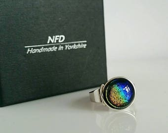 Dichroic glass ring, fused glass jewellery, fused glass ring, adjustable glass ring, unique ring, rainbow ring