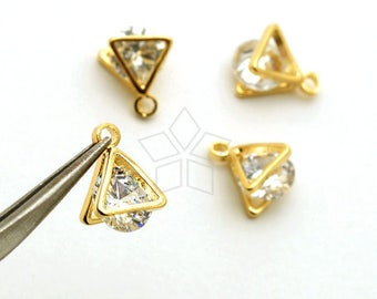 PD-1894-GD / 2 Pcs - Brilliant Cut Cubic Zirconia in Triangle Shell Frame, Clear CZ Charm Pendant, Gold  Plated Brass Frame / 5mm x 8mm