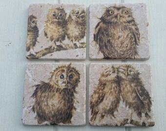 Cute Owlets Owl Coaster Set of 4 Tea Coffee Beer Coasters