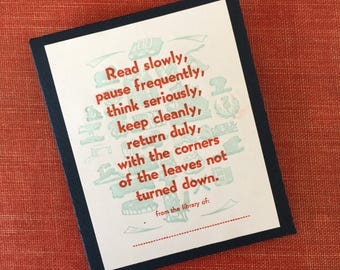 Book Lovers Letterpress Bookplates - Set of 12