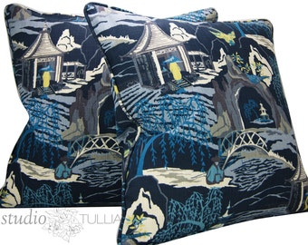 Chinoiserie - Neo Toile - 22X22 - Set of TWO - Asian Toile - blue - pagoda - self welt - ready to ship
