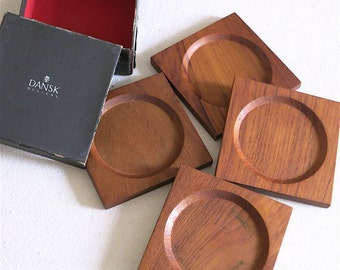 Vintage Dansk Teak Coasters Set of Four by Jens Quistgaard IHQ 1960s Danish Modern Barware