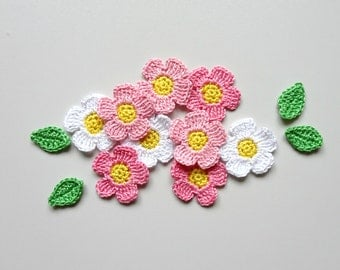 Crochet flowers applique with leaves - apple blossoms applique - spring flowers embellishment - pink flowers with yellow center - set of 9