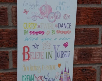 shabby chic princess rules  dream big believe in yourself nursery little girl  sign plaque large