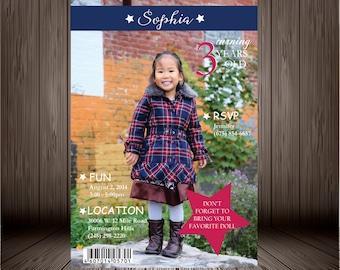 Printable Digital Girl Magazine Birthday Invitation Design