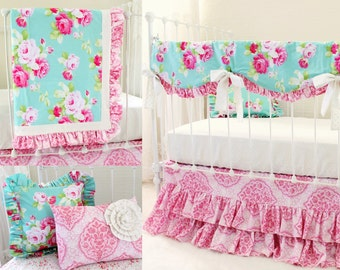 Shabby Chic Roses Aqua and Pink Crib Bedding Set, Custom Nursery Design featuring Bumperless Baby Bedding for Baby Girls - Morning Rose