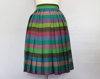 1940s Striped Multi-Colored Pleated Skirt Knee Length XS/S