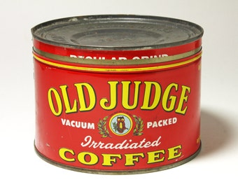 Vintage Old Judge Coffee Can, Red Coffee Can  - Circa 1940's