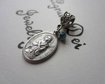 St Maria Goretti Medal & Lt Blue Glass Charm Pendant Necklace Patron Saint Medal Italy Catholic Jewelry Religious Victims of Assault Girls