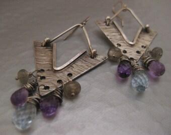 Blue Topaz, Amethyst, Labradorite Sterling silver Earrings