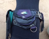 Reserved for Ariel, custom pocket belt in genuine black, turquoise and purple leathers with 6 pockets