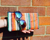 Handmade in the UK Upcycled Red  Green Stripy Vintage Deckchair Fabric Zipped Beach Pouch